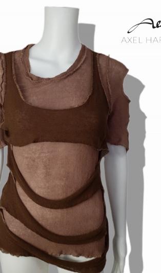 Ленена батик фино плетена блуза