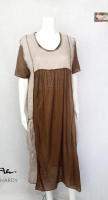 Фънки ленена  рокля в бежево и кафяво
