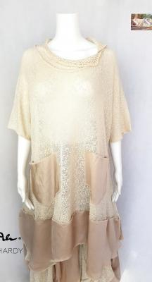 Невероятна удължена блуза-тип туника в цвят слонова кост НЕ Е НАЛИЧНА В МОМЕНТА