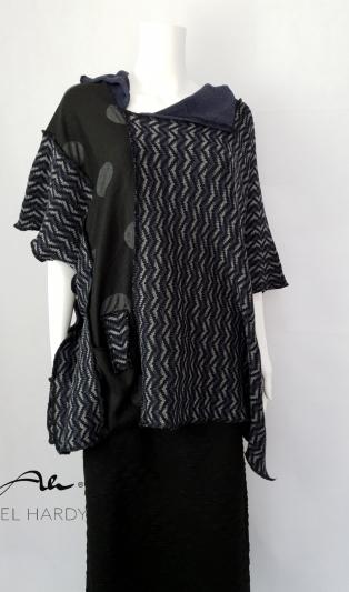 Фънки блуза/пончо от жакардово зиг-заг плетиво