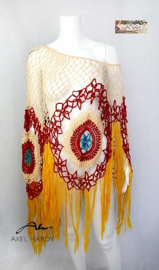 Бохемско ръчно плетено пончо