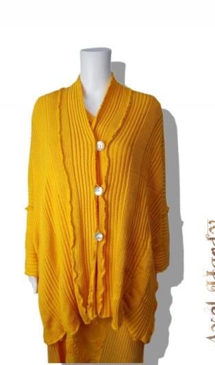Макси жълта памучна плетена жилетка