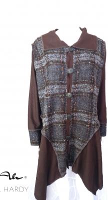 Есенно манто комбинация от каре плат и плетиво