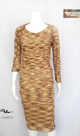 Оформяща меланжирана в земни тонове рокля с болеро НЕ Е НАЛИЧНА