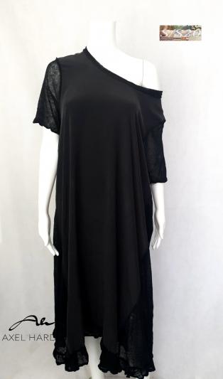 Amazing stunning pure silk &linen  black fashionable dress.
