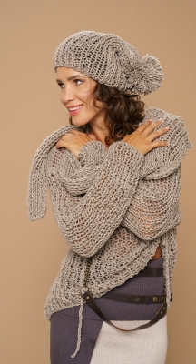 Hand knitted jumper with scarf and hat