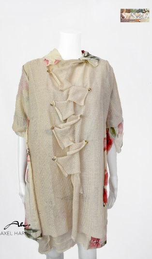 Summer cardigan with cross buttoned