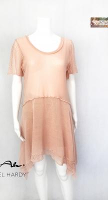 Нежна плетена рокля/туника в цвят пудра