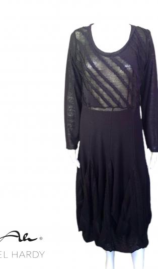 Черна  модна нестандартна рокля