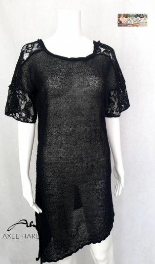 Stylish long black  knit top with lace