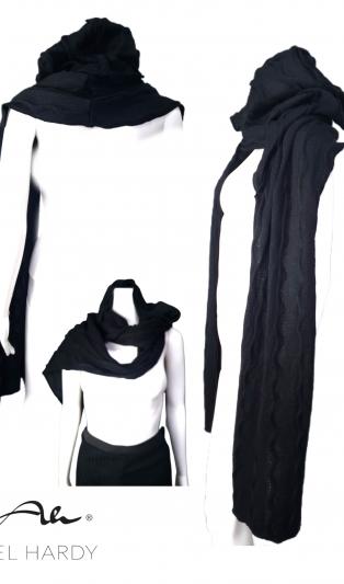 Моден и практичен пухкав топъл шал с прикачена качулка