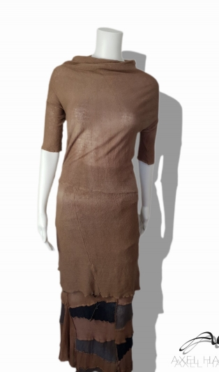 Fashionable fine knit linen T&D midi dress/tunic