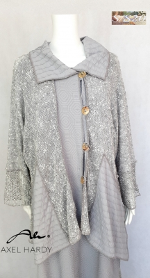 Фънки нежно сиво плетено мaнто