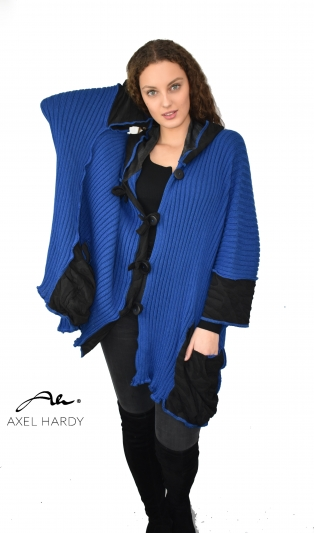 Funky plus size knitted coat in royal blue