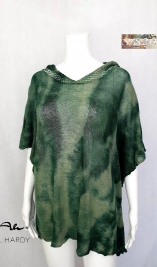 Ленено плетено ,зелен батик пончо с качулка ПРОДАДЕНА
