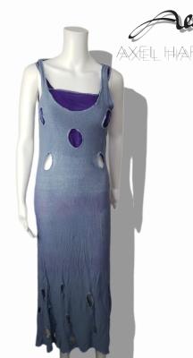 Уникална модна рокля от фино ленено плетиво