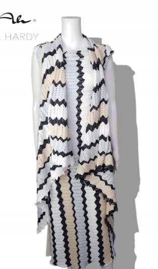 Set zigzag dress with west