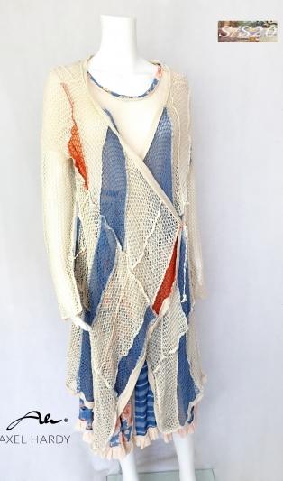 Unique patchwork mesh knit cardigan NOT AVAILABLE