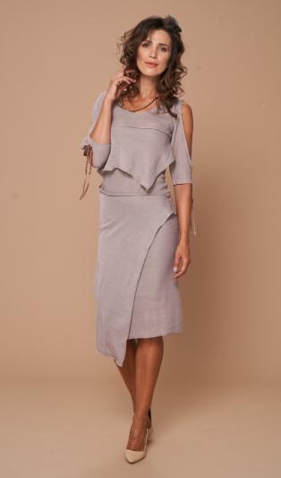 Фино плетена мулти  рокля/туника 4 сезона в два цвята-001 пепел от рози лен и 002 пастелно зелен памук