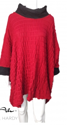 Пончо фънки стил  в малиново червено