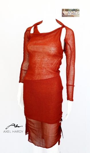 Моден сет от оформяща рокля и болеро в рустик ленено плетиво