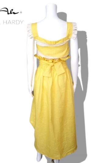 Ленена пола в слънчево жълто с висока талия НЕ Е НАЛИЧНА