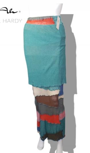 Пачуърк ленена фино плетена пола батик в щастливи цветове