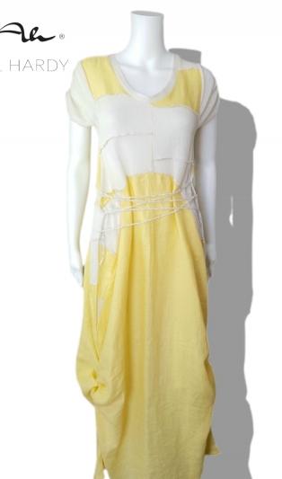 Ленена жълта рокля с регулируема дължина НЕ Е НАЛИЧНА
