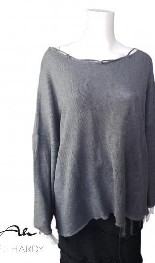 Блуза от меко   плетиво в сиво