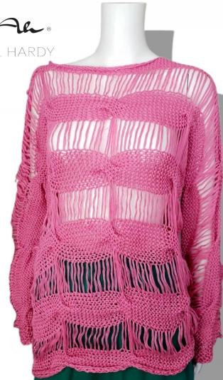 Pъчно плетен пуловер БОХО в скейтърско розово
