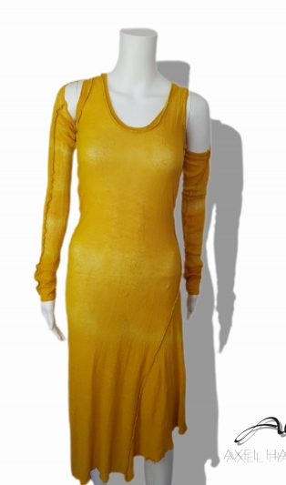 Linen knitted dress with bolero in yellow