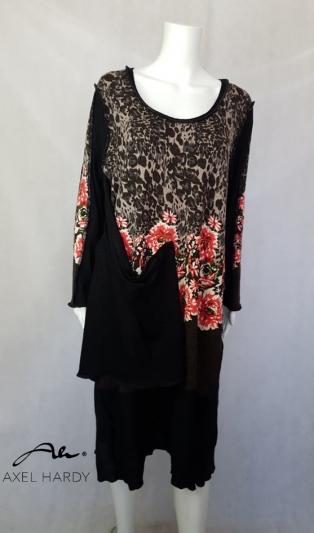 Макси рокля в леопардов и флорален принт