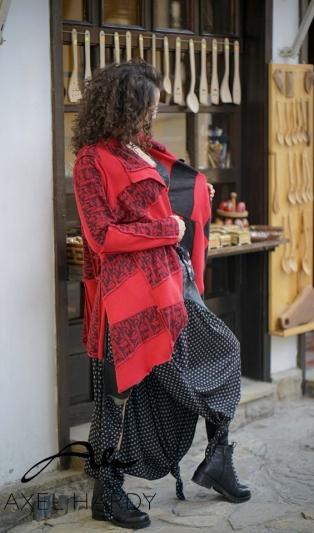 Двулицева жилетка в черно и червено