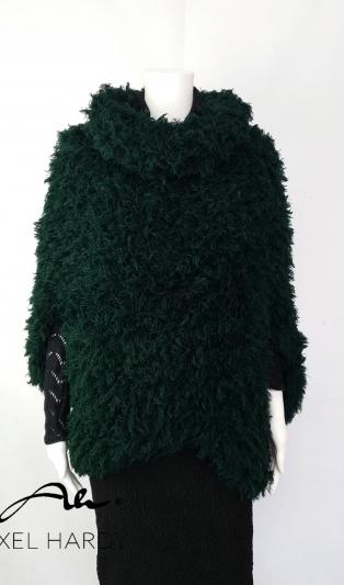 Avant-garde fluffy poncho hand knitted