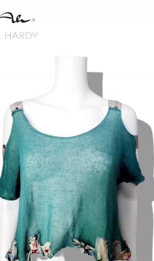 Модна къса тюркоазена блуза с ленти