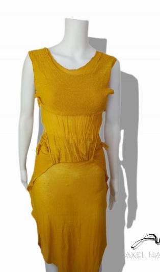 Avant-garde yellow T&D dress