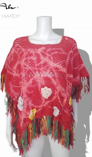 Бохо пончо на 1 и 2 куки плетено с цветни ефекти