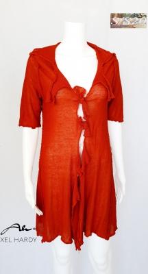 Ленена плетена жилетка в етно рустик цвят