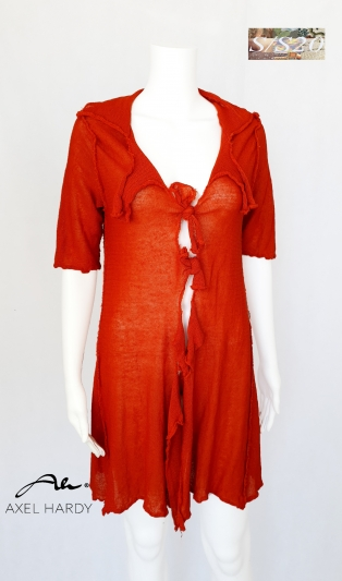Rustic linen knit cardigan