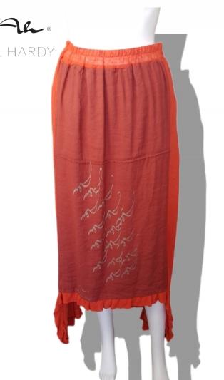 Рустик ленена пола с лого принт  в бохемски и етно стил