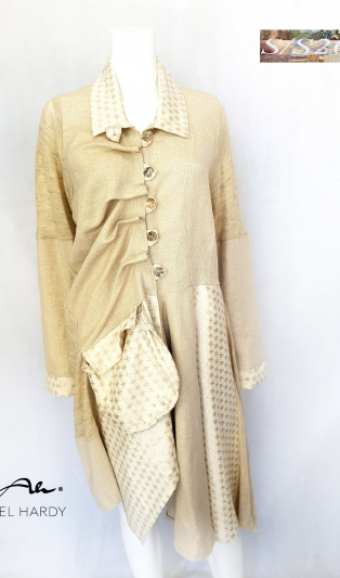 Glossy gold linen coat Angel  NOT AVAILABLE
