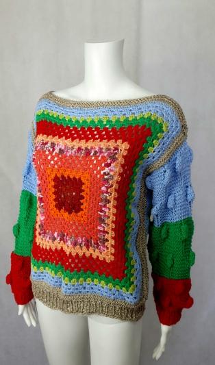 Pъчно плетен пуловер БОХО