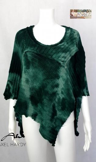 Бохемско триъгълно плетено пончо зелен батик