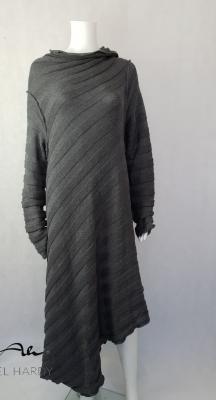 Асиметрична релефно раирана плетена рокля/туника