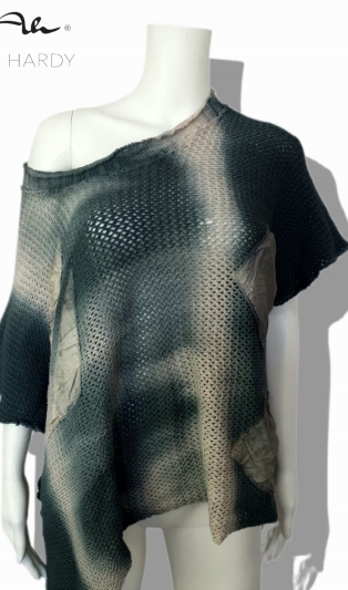Мрежесто пончо /блуза с апликации батик в скалист цвят Гнайс