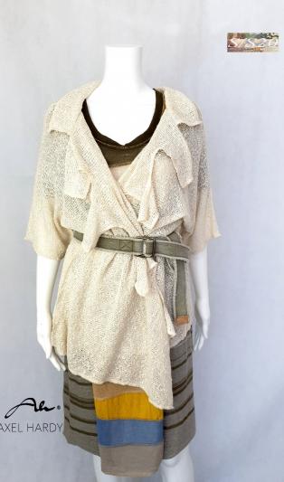 Лятна леко плетена жилетка в натурален екрю цвят на памука