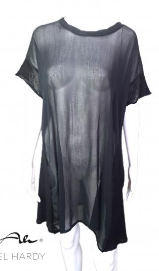 Черна модна туника от прозрачна естествена коприна