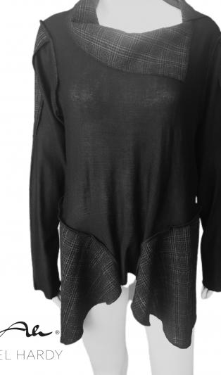 Фънки блуза от меко плетиво и плат каре