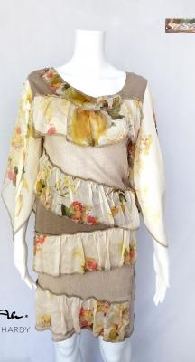 Романтична лятна рокля с флорални  волани