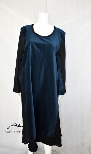 Макси  рокля в стилно тъмно син цвят